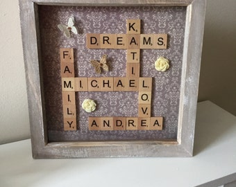 Handmade Personalised Scrabble Word Art Frame | Ideal Mothers Day Gift | Birthday Gift |  Our Family |
