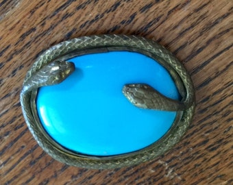 vintage double snake turquoise color glass pin brooch