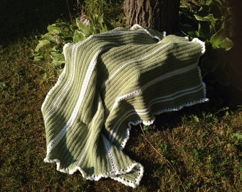 Green and White Afghan