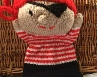 Hand knitted Pirate Hand Puppet