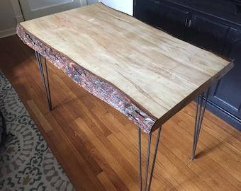 Live Edge Wood Desk With Hairpin Legs