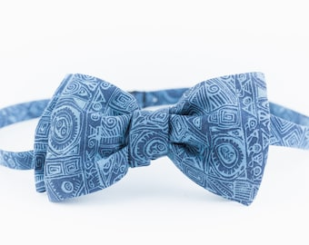 VABIEN Bow Tie Blue Cotton