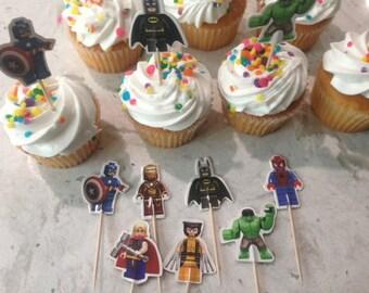 24 Super Hero Cupcake Toppers Birthday Party Batman Spiderman Captain America