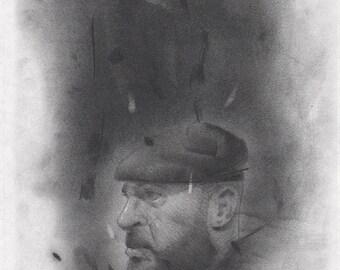 Beret [male, bear, beard, gay, masculine, drawing, illustration, portrait]