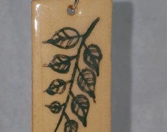 Handmade stoneware pendant necklace leaf pattern