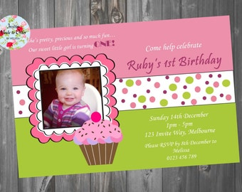 Pink and Green cupcake theme girls Birthday Invitation with photo