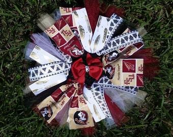 Florida State University FSU Fabric/Tulle/Ribbon Tutu Skirt Accessorized with Matching Hairbow