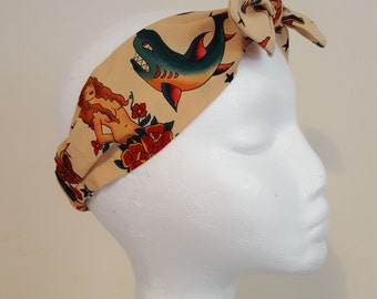 Alexander Henry Tattoo Sailor Jerry Fabric Vintage Retro Handmade Hair Band Head Band Bandana Hair Tie Hair Accessories Heavens 2 Betsy