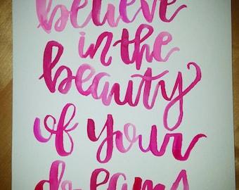 Believe, custom design in pink