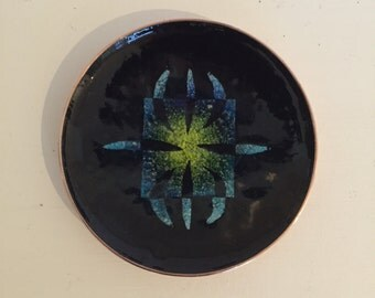 Vintage Arvid Norendal Enamel Copper Dish signed - 1985