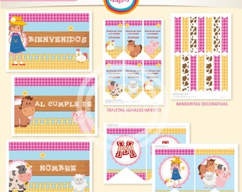 Kit printable decor farm girls