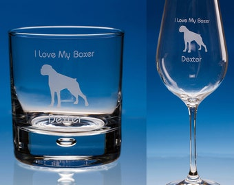 Boxer Dog Wine Glass or Boxer Whisky Glass Personalised Gift, Dog Lover Gift, Dog Glass, Dog Gift, Boxer Dog Gift, Boxer, Gift For Dog Lover