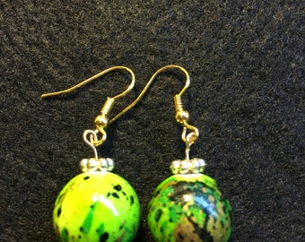 Green and gold speckled drop earrings