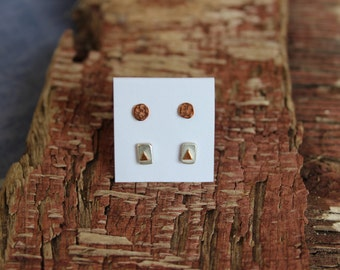 Silver with copper and hammered copper stud set