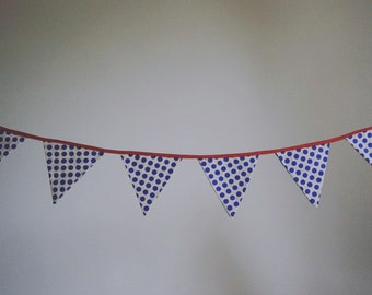 Bunting - blue & white dots