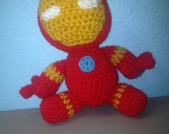 "IronMan, hand knitted, plush, 8"""
