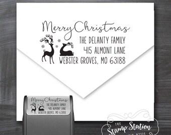 Christmas Return Address Stamp - Christmas Card Stamp reindeer stamp Stamp Self Inking Holiday Stamper CDRAS2
