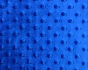 Minky Dimple Dot Fabric By The Yard - Royal (W1)