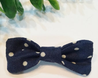 The Anne | Baby Bow Clip | Navy Blue Polka Dot | Baby Bow