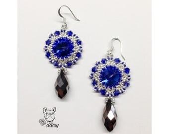 Earrings with blue and Silver-Blue Rivulets bezel earrings silver