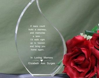 Personalized Teardrop Memorial Keepsake Acrylic If Tears Could Build a Stairway Memorial Sympathy Gift