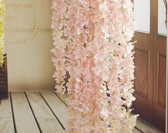 12pcs Artificial Silk Wisteria Garland Wedding Bridal weddings---rose pink