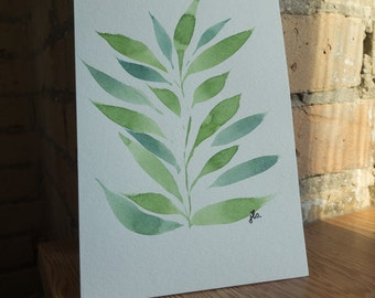 Leaf Study - 5x7 Watercolour Floral Painting with Custom Lettering