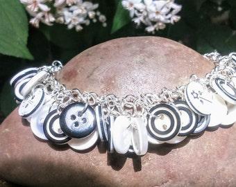 Monochrome button charm bracelet