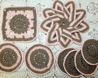Crochet kitchen table set, crochet star pot holder and coasters, kitchen decor, cotton friendly potholder, crochet coasters, heat mat