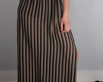 SALE Vintage Vertical Striped Side Slit Maxi Skirt