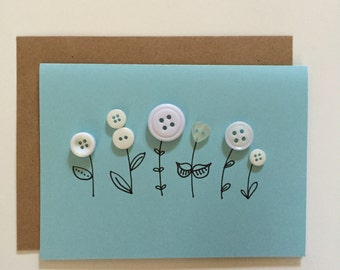 Button Flowers in White