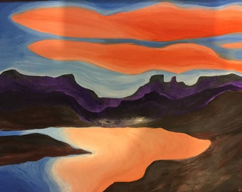 original acrylic painting, original abstract landscape acrylic painting, on terraskin paper, Sunset reflection, red,blue,brown
