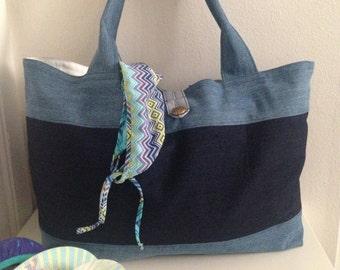 Handmade by sandramorelcreations, one-of-a-kind, denim beach tote bag, large bag, shoulder bag, vacation bag, fabric bag, weekend bag,