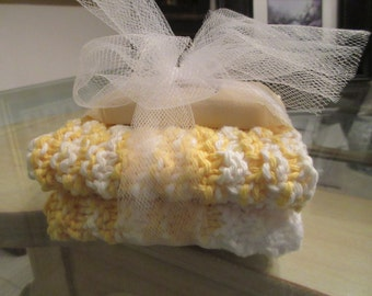 2 Hand Knit Wash Cloths Or Dish Cloths, 1.5 Oz. Almond Soap Gift Set. Under 15 Gift.
