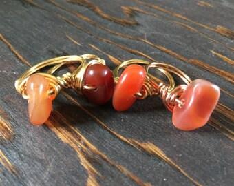 Genuine Carnelian Stone; Wire Wrapped Ring