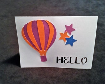 Hot Air Balloon Hello Card