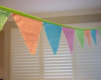 5 meters gingham bunting, Fabric Garland, Banner Party Flags, Pennant Banner, Party Decor, gingham, bunting