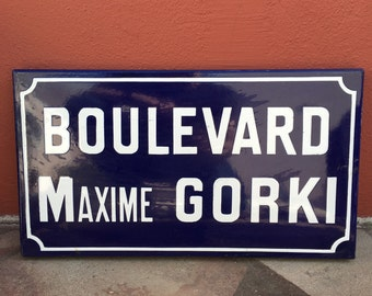 Old French Street Enameled Sign Plaque - vintage maxime gorki