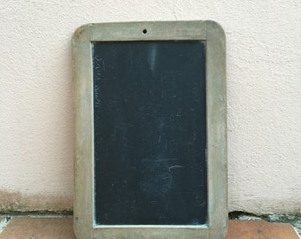 Vintage Childs blackboard,slate chalk board,old school house, french wood 14