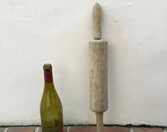 Vintage Wood Kitchen Roll rolling Pin bakery french 3