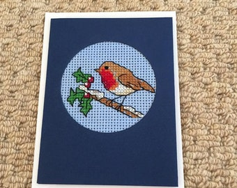 Cross stitch Robin Christmas Card