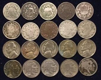 Mixed Nickel 1/2 Roll - Shield, Liberty V, War Nickels, Buffalo - 20 Coins (NR2)
