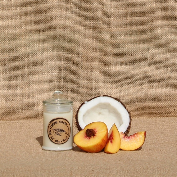 Creamy Coconut & Peach 100% Soy Wax Candle. A By