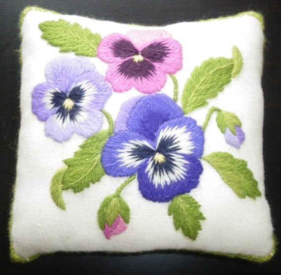 Pansy Pincushion A Crewel Embroidery Kit For Beginners