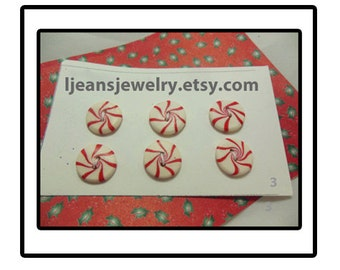 Christmas Polymer Clay Peppermint Candy Buttons