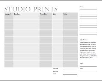 Studio Print Order Form - Photography Print Form - IPS Sales
