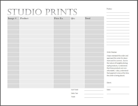 Studio Print Order Form  Photography Print Form  Ips Sales From