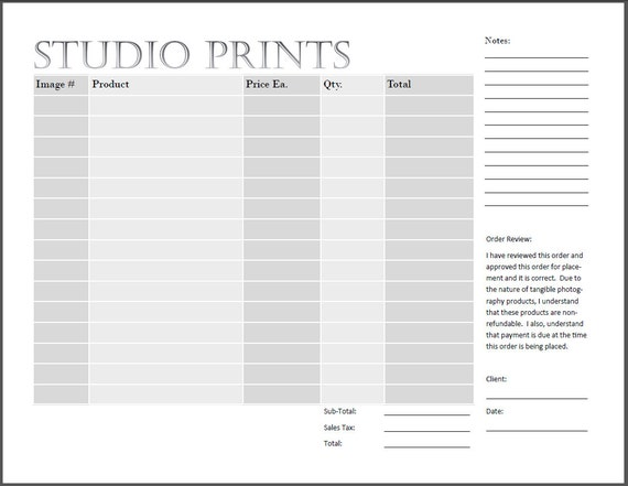 Studio Print Order Form - Photography Print Form - Ips Sales From