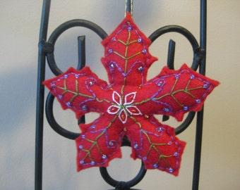 Red Felt Snowflake Christmas Ornament