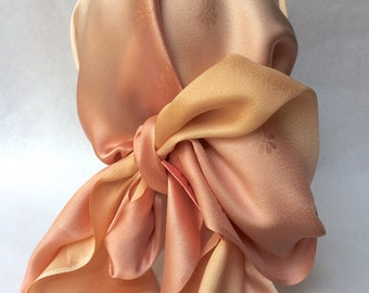 Japanese silk scarf - pink x peach